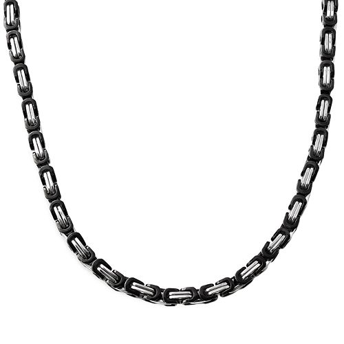 Stainless Steel & Black Immersion-Plated Stainless Steel Necklace - Men