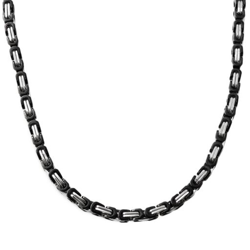 Stainless Steel and Black Immersion-Plated Stainless Steel Necklace - Men