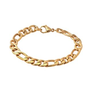 Yellow Immersion-Plated Stainless Steel Figaro Bracelet - Men