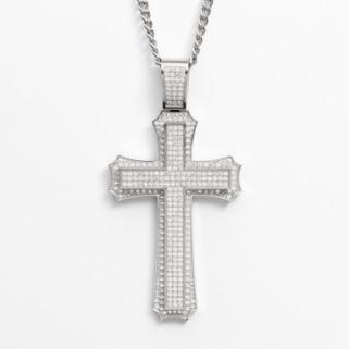 Stainless Steel Cubic Zirconia Cross Pendant - Men