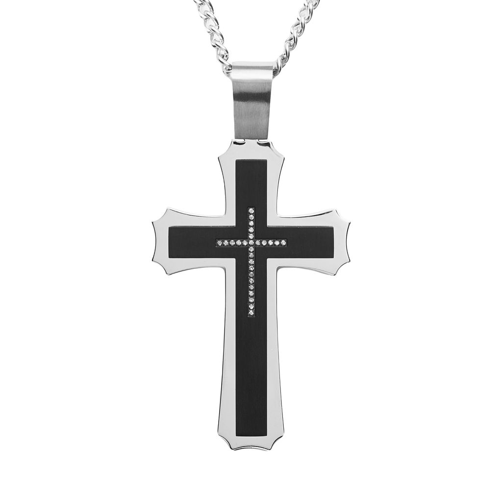 Stainless Steel & Black Immersion-Plated Stainless Steel Cubic Zirconia Cross Pendant - Men