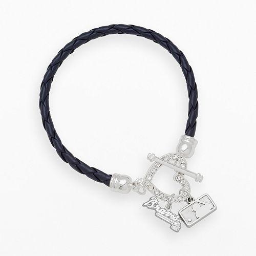 LogoArt Atlanta Braves Devotion Silver Tone Crystal Charm Bracelet