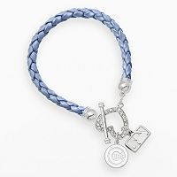 LogoArt Chicago Cubs Devotion Silver Tone Crystal Charm Bracelet