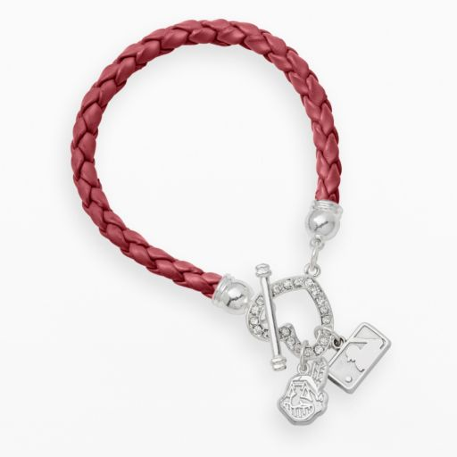 LogoArt Cleveland Indians Devotion Silver Tone Crystal Charm Bracelet