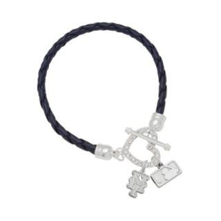 LogoArt New York Mets Devotion Silver Tone Crystal Charm Bracelet