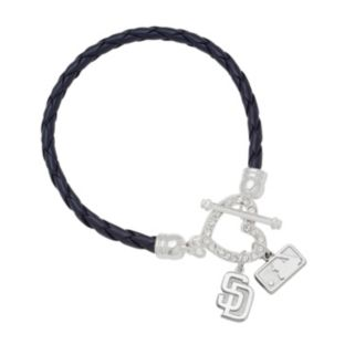 LogoArt San Diego Padres Devotion Silver Tone Crystal Charm Bracelet