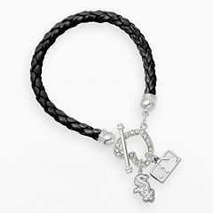 LogoArt Chicago White Sox Devotion Silver Tone Crystal Charm Bracelet