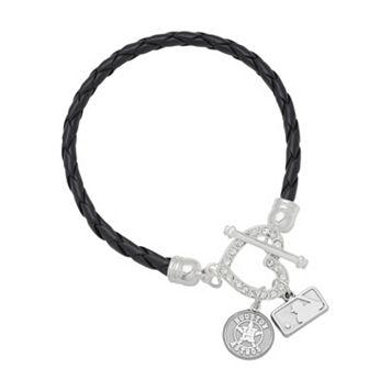 Houston Astros Devotion Silver Tone Crystal Charm Bracelet