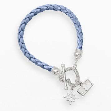 LogoArt Seattle Mariners Devotion Silver Tone Crystal Charm Bracelet