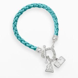 LogoArt Miami Marlins Devotion Silver Tone Crystal Charm Bracelet