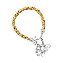 LogoArt Pittsburgh Pirates Devotion Silver Tone Crystal Charm Bracelet