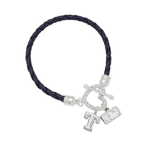 LogoArt Texas Rangers Devotion Silver Tone Crystal Charm Bracelet
