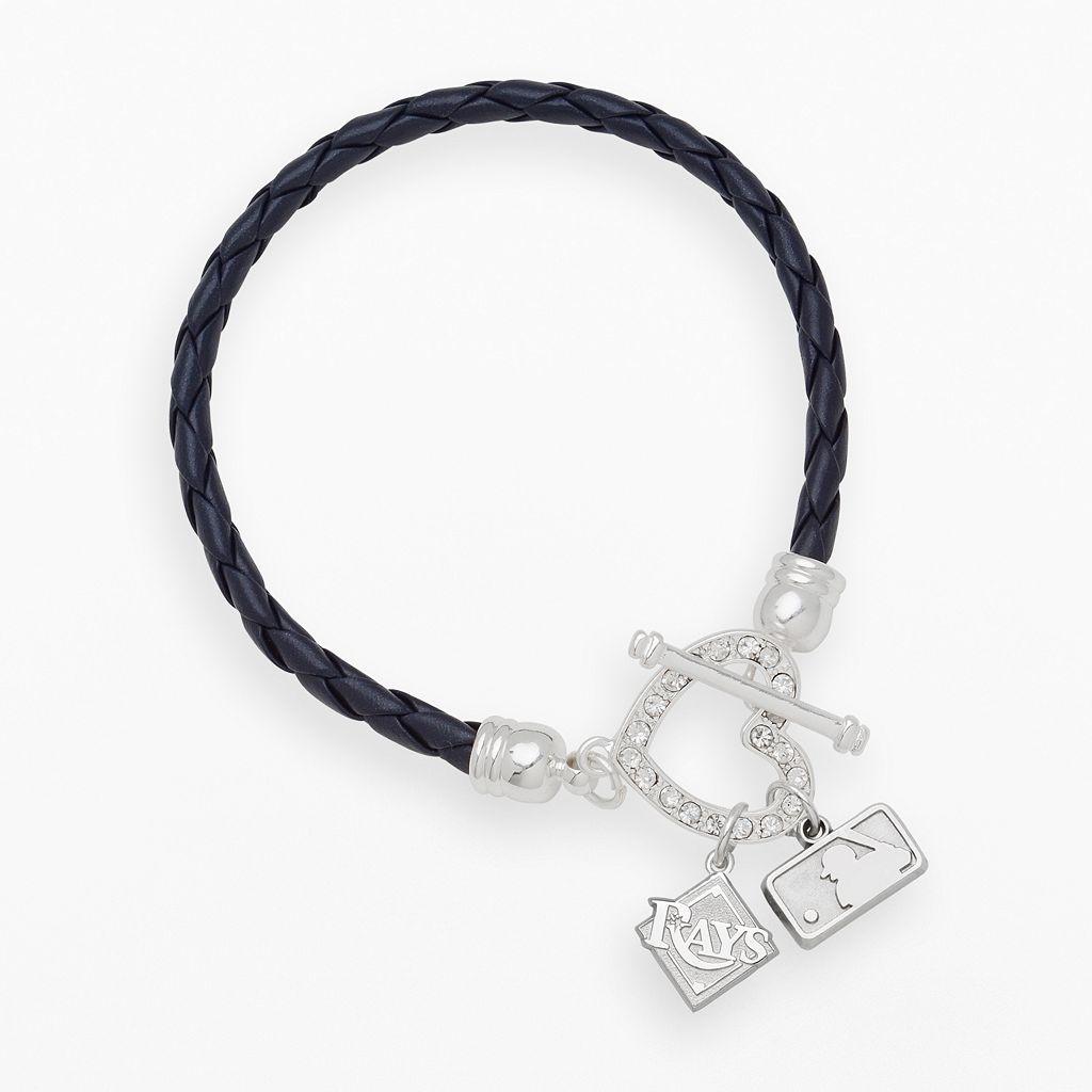 LogoArt Tampa Bay Rays Devotion Silver Tone Crystal Charm Bracelet