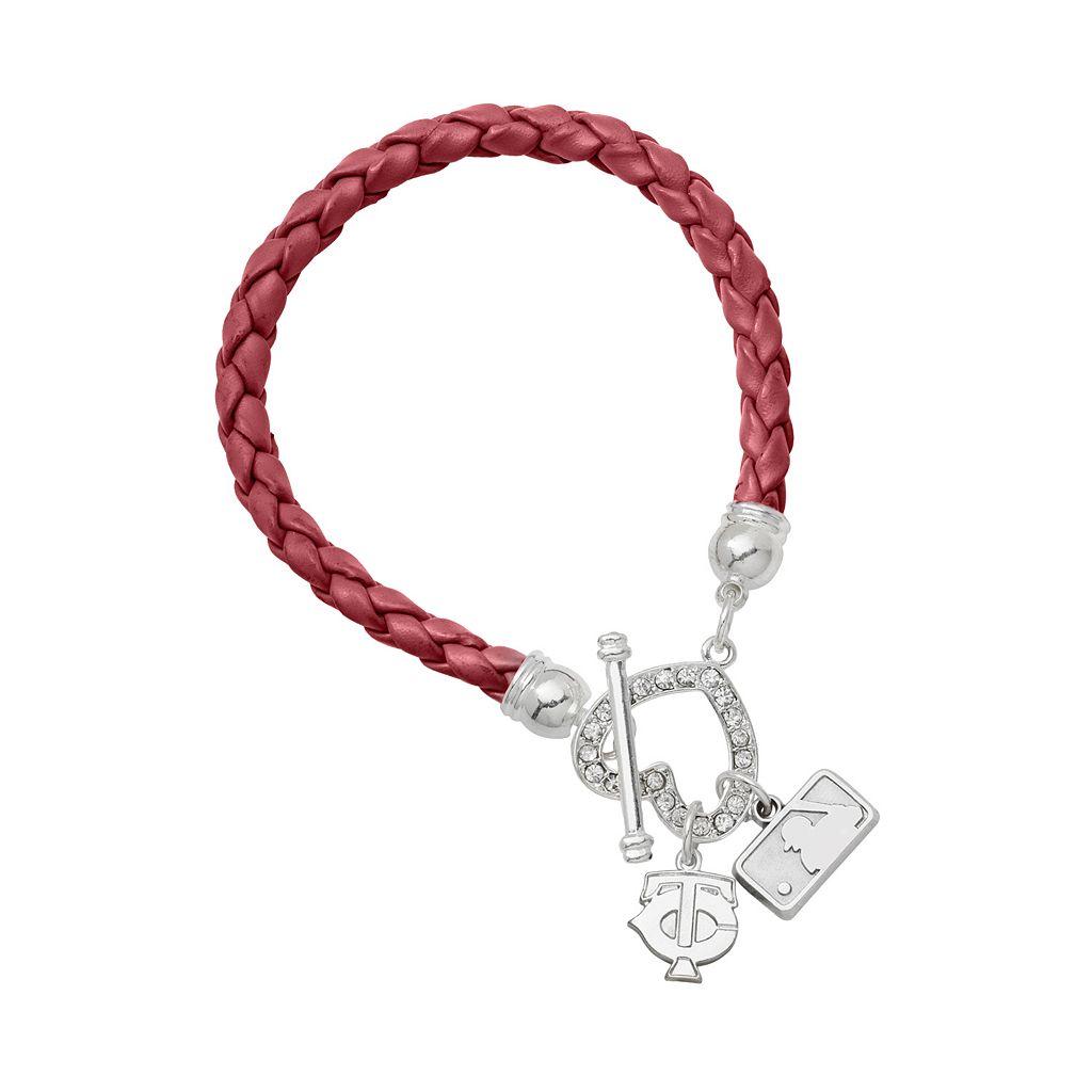 LogoArt Minnesota Twins Devotion Silver Tone Crystal Charm Bracelet