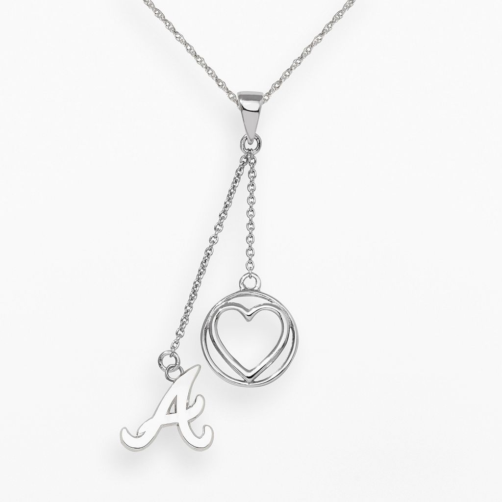 LogoArt Atlanta Braves Beloved Sterling Silver Linear Pendant