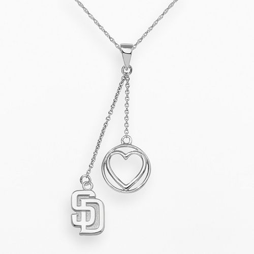 LogoArt San Diego Padres Beloved Sterling Silver Linear Pendant