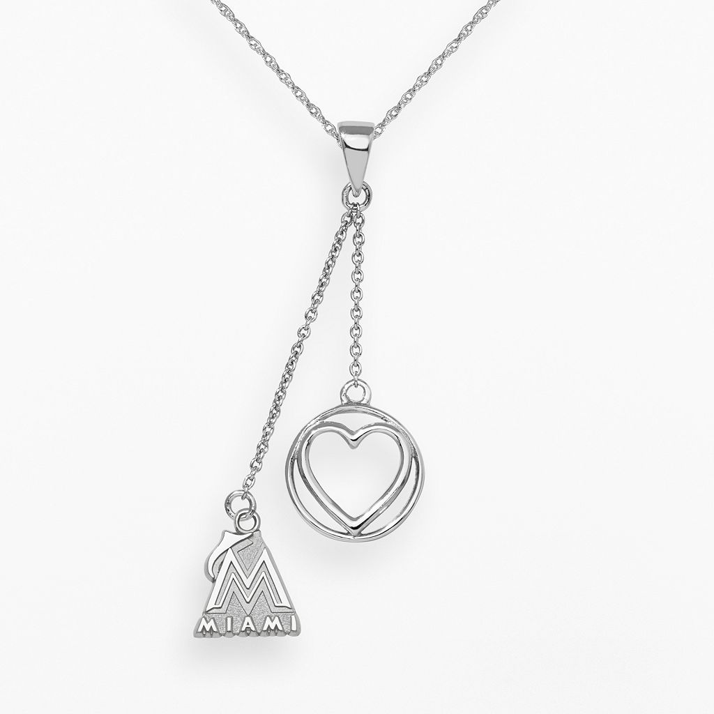 LogoArt Miami Marlins Beloved Sterling Silver Linear Pendant