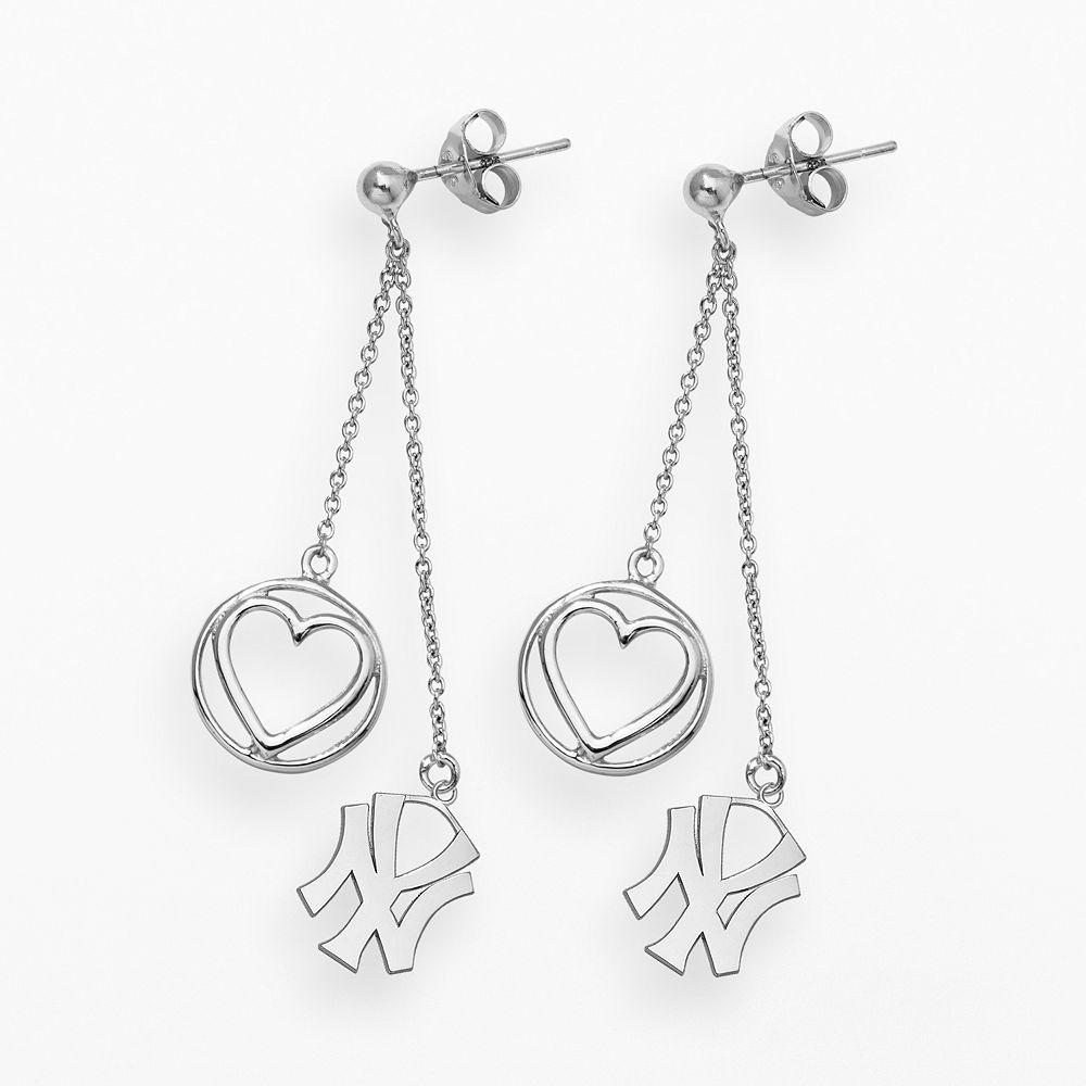 LogoArt New York Yankees Beloved Sterling Silver Linear Drop Earrings