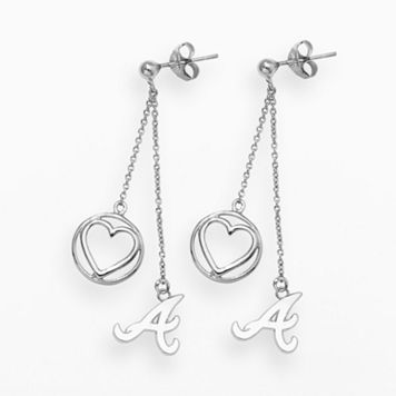 LogoArt Atlanta Braves Beloved Sterling Silver Linear Drop Earrings