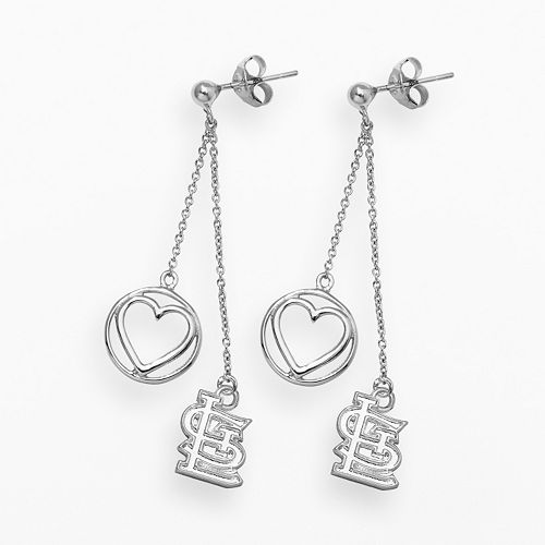 LogoArt St. Louis Cardinals Beloved Sterling Silver Linear Drop Earrings