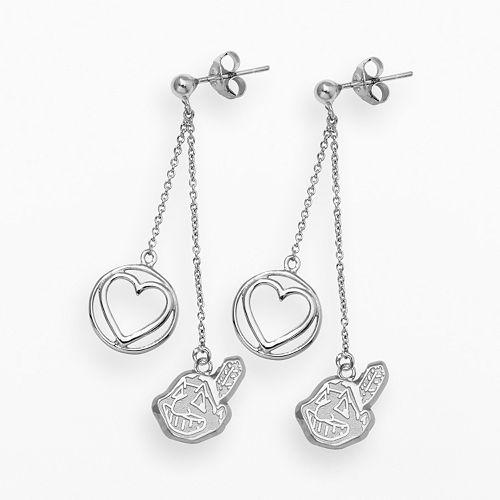 LogoArt Cleveland Indians Beloved Sterling Silver Linear Drop Earrings