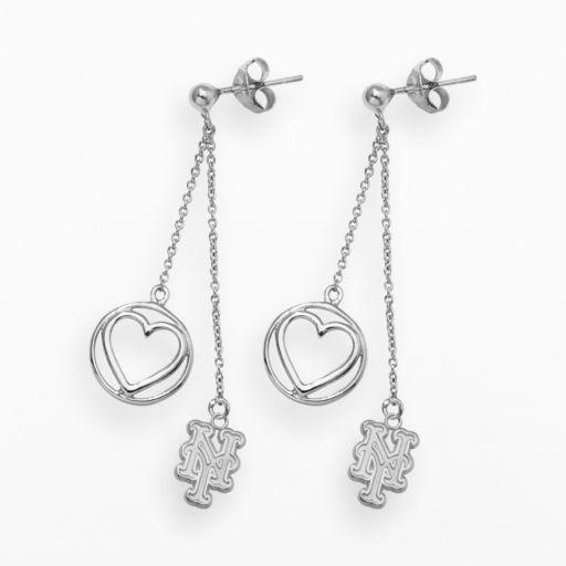 LogoArt New York Mets Beloved Sterling Silver Linear Drop Earrings