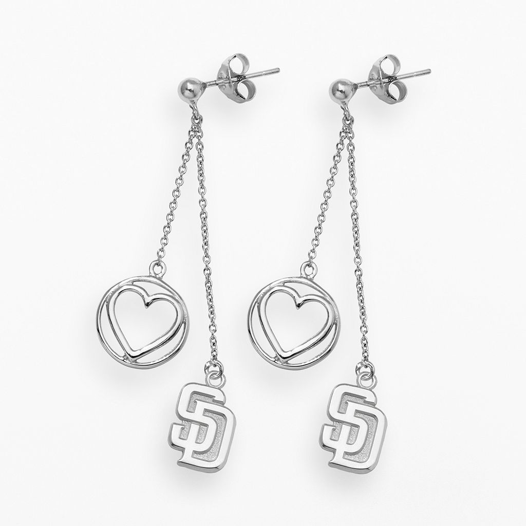 LogoArt San Diego Padres Beloved Sterling Silver Linear Drop Earrings