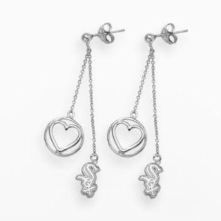 LogoArt Chicago White Sox Beloved Sterling Silver Linear Drop Earrings