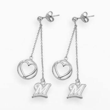 LogoArt Milwaukee Brewers Beloved Sterling Silver Linear Drop Earrings