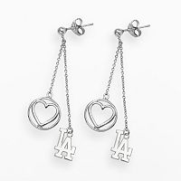 LogoArt Los Angeles Dodgers Beloved Sterling Silver Linear Drop Earrings