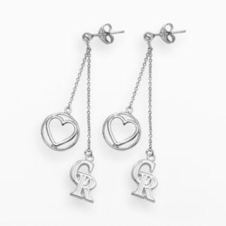 LogoArt Colorado Rockies Beloved Sterling Silver Linear Drop Earrings