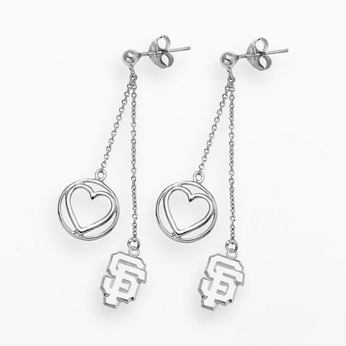 LogoArt San Francisco Giants Beloved Sterling Silver Linear Drop Earrings