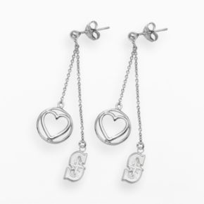 LogoArt Seattle Mariners Beloved Sterling Silver Linear Drop Earrings