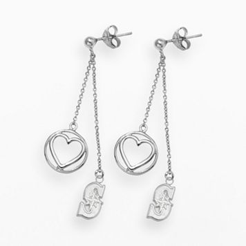 LogoArt Seattle Mariners Beloved Sterling Silver Linear Drop Earrings