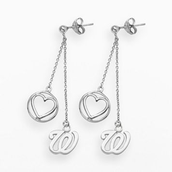 LogoArt Washington Nationals Beloved Sterling Silver Linear Drop Earrings