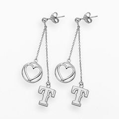 LogoArt Texas Rangers Beloved Sterling Silver Linear Drop Earrings