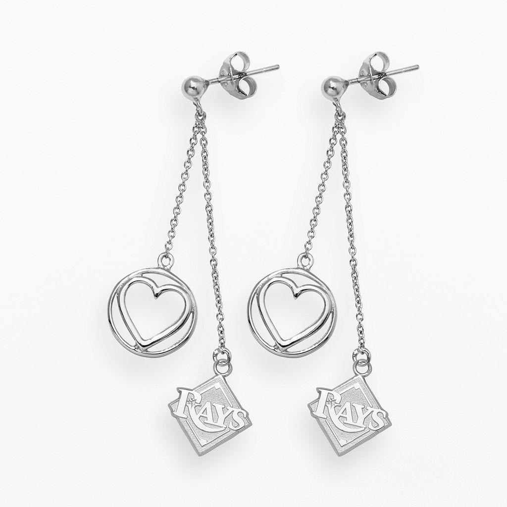LogoArt Tampa Bay Rays Beloved Sterling Silver Linear Drop Earrings