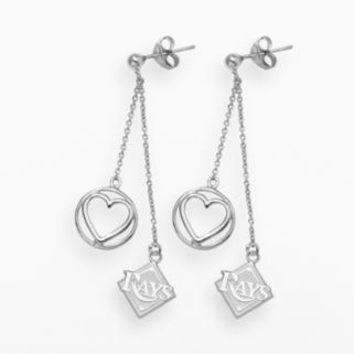 LogoArt Tampa Bay Rays Beloved Sterling Silver Linear Drop Earrings