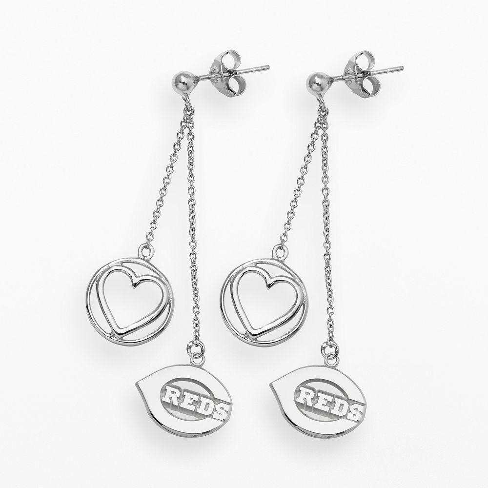 LogoArt Cincinnati Reds Beloved Sterling Silver Linear Drop Earrings