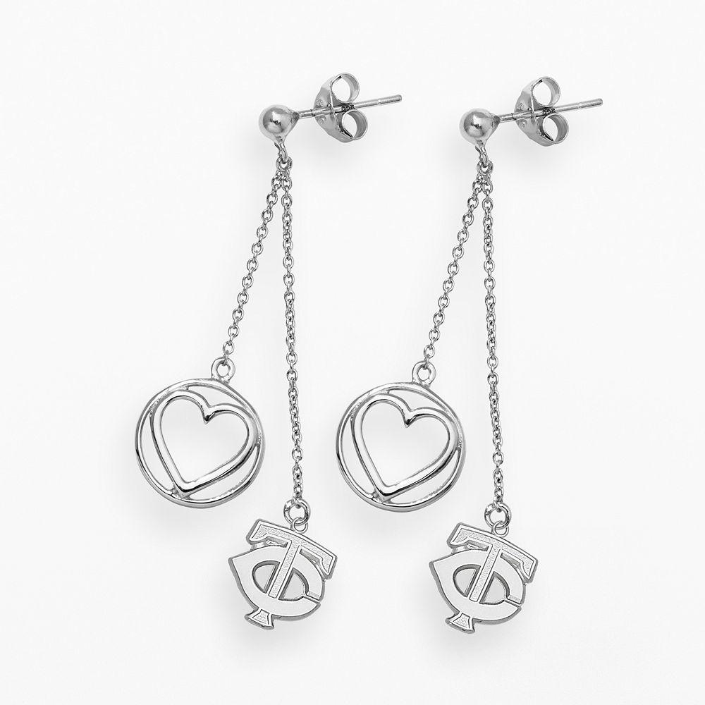 LogoArt Minnesota Twins Beloved Sterling Silver Linear Drop Earrings