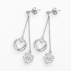 LogoArt Minnesota Twins Beloved Sterling Silver Linear Drop Earrings