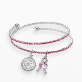 LogoArt Toronto Blue Jays Silver Tone Crystal Breast Cancer Awareness Charm Coil Bracelet