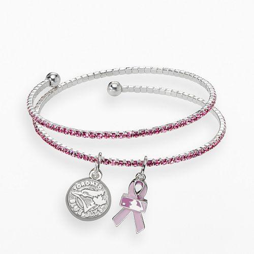 LogoArt Toronto Blue Jays Silver Tone Crystal Breast Cancer Awareness Charm Coil Bracelet