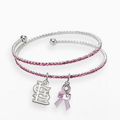 LogoArt St. Louis Cardinals Silver Tone Crystal Breast Cancer Awareness Charm Coil Bracelet