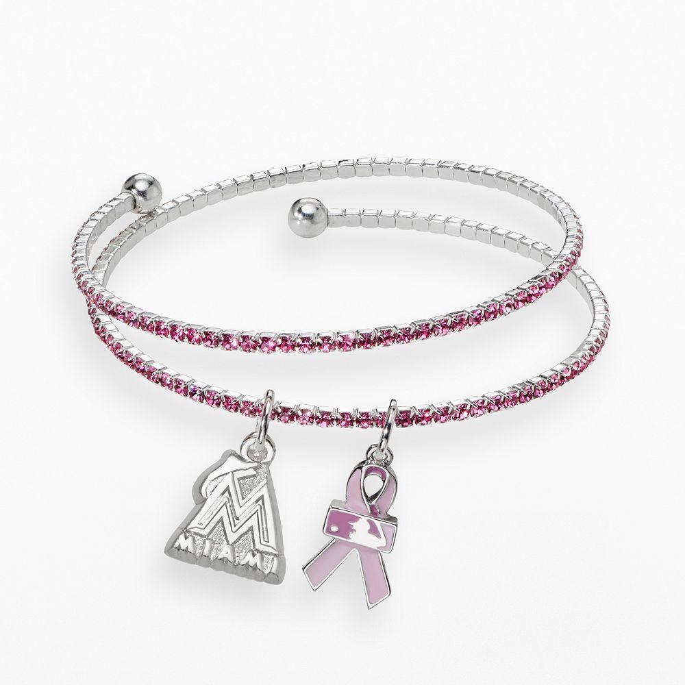 LogoArt Miami Marlins Silver Tone Crystal Breast Cancer Awareness Charm Coil Bracelet