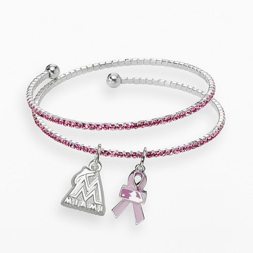 LogoArt Miami Marlins Silver Tone Crystal Breast Cancer Awareness Charm Coil Bracelet