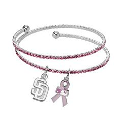 LogoArt San Diego Padres Silver Tone Crystal Breast Cancer Awareness Charm Coil Bracelet