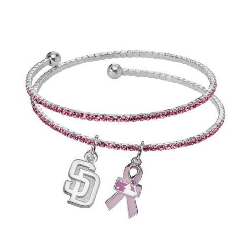 LogoArt San Diego Padres Silver Tone Crystal Breast Cancer Awareness Charm Coil Bracelet
