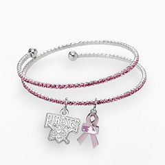 LogoArt Pittsburgh Pirates Silver Tone Crystal Breast Cancer Awareness Charm Coil Bracelet