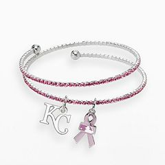 LogoArt Kansas City Royals Silver Tone Crystal Breast Cancer Awareness Charm Coil Bracelet